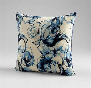 monet blue and white throw pillow by cyan design With blue and white accent pillows