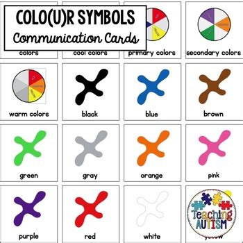 color for autism special education visual symbols colors colours by