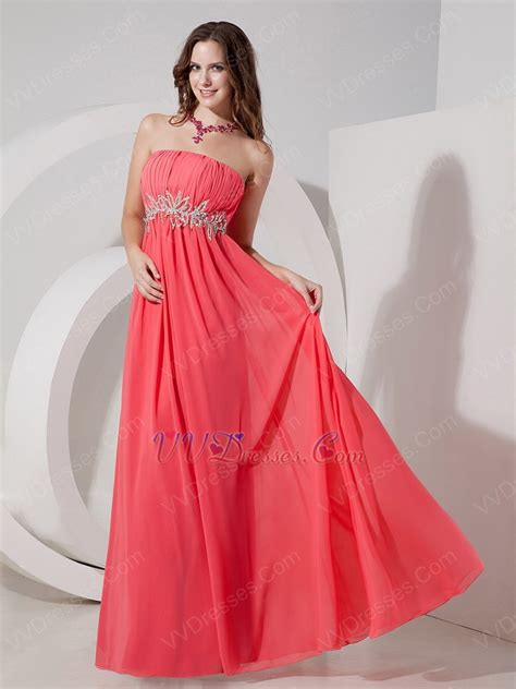 strapless ruched watermelon beautiful prom dress