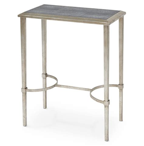 silver leaf end table oxford hollywood regency faux shagreen silver leaf side