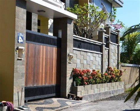 model desain gambar pagar tembok rumah minimalis terbaru pagar batu minimalist home