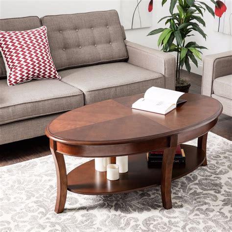 modern walnut oval coffee table furniture home living room