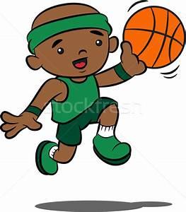 Cute Cartoon Boy Playing Basketball vector illustration ...