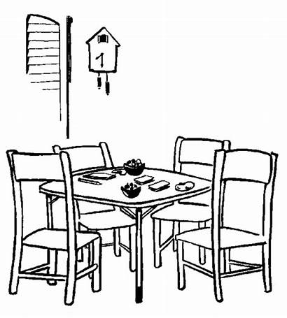Coloring Dining Drawing Pages Table Sheet Simple