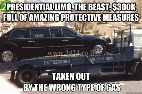 Limo Meme - presidential limo the beast 300k full of amazing protective measures taken out by the wrong