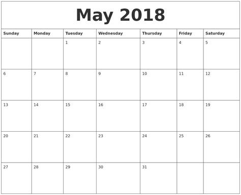 By Template Free by Free Printable May 2018 Calendar Page Clipart Library
