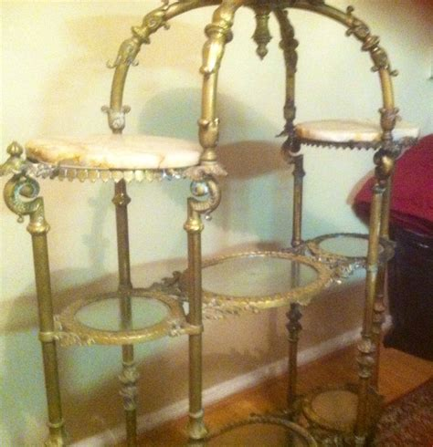 Antique Etagere by Four Tier Brass Glass Marble Etagere For Sale