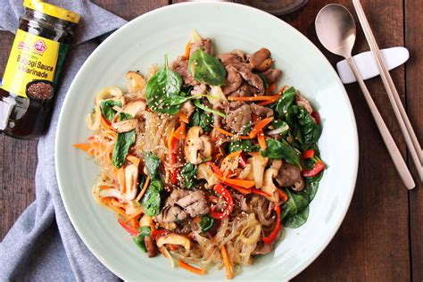 korean stir fried noodles  beef japchae asian