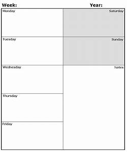 Monday Sunday Calendar  Blank Weekly Calendar With Time