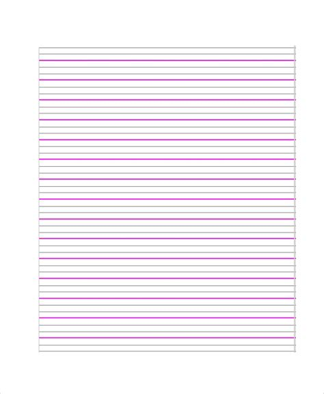 printable lined paper samples   ms word