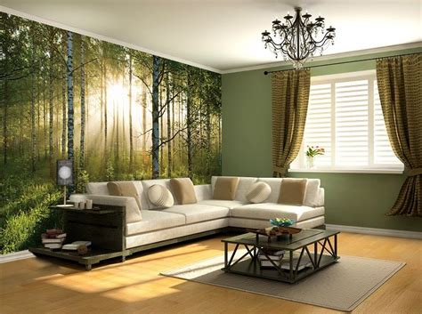 sunny green forest wall mural wallpapers  shop