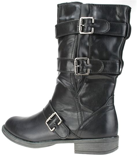 womens black biker boots womens black new biker boots faux leather buckle zip up