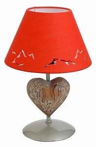 Lampe De Chevet Metal : lampe de chevet m tal peint argent motif coeur abat jour rouge h30 luminaires ~ Melissatoandfro.com Idées de Décoration
