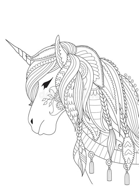 Drawing Unicorn Zentangle Style For Coloring Book, Tattoo, Shirt Design, Logo, Sign. Stylized