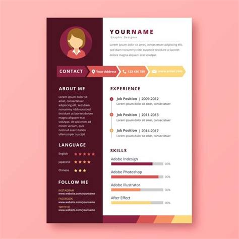 Chronological Resume Graphic Design by Graphic Designer Resume Free Vector Stock