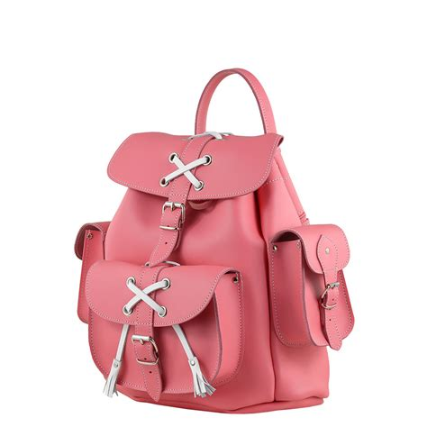 bunny bright pink leather backpack
