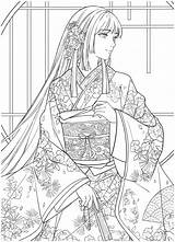 Coloring Chinese Portrait Kayliebooks Ebook Floral Adult Vol Anime Colouring Drawings Lineart Sheets Colorful Physical Mandala sketch template