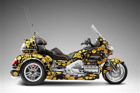 custom honda goldwing gl1800 with gold flower on black