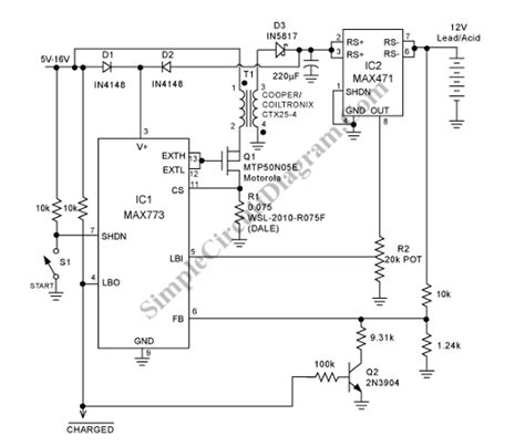 Lead Acid Battery Charger Circuit Simple Diagram