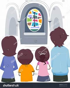 Illustration Christian Family Praying Together Stock ...
