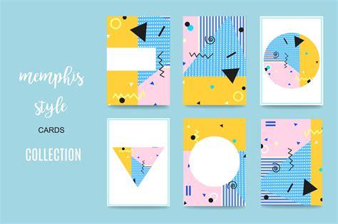memphis style cards card templates creative market