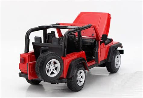 kids red jeep 1 24 scale kids red no car roof diecast jeep wrangler toy