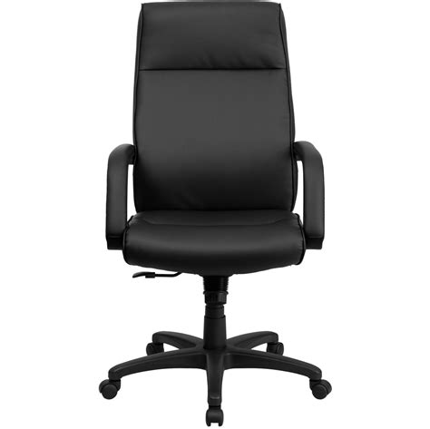 high back black leather executive office chair with memory