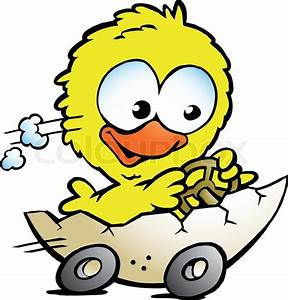 Hand-drawn Vector illustration of an cute baby chicken ...