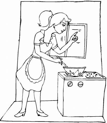 Coloring Cooking Pages Utensils Kitchen Sheets Mother