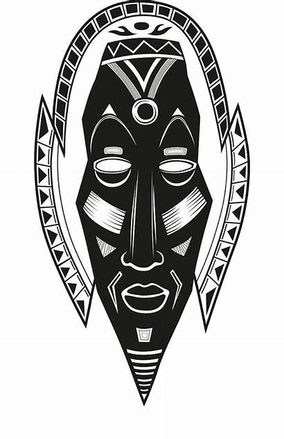 African Symbols Mask Tribal Coloring Printable Clipart