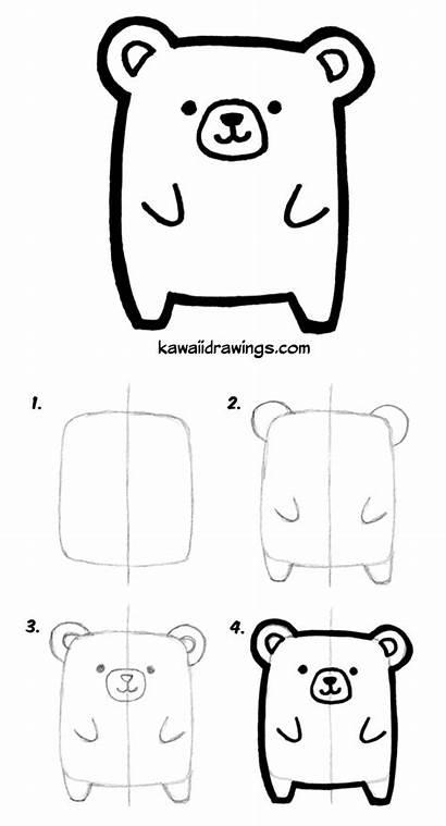 Kawaii Drawing Drawings Animal Draw Step Easy