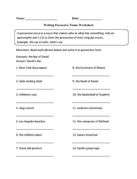 writing possessive nouns worksheet englishlinx com board