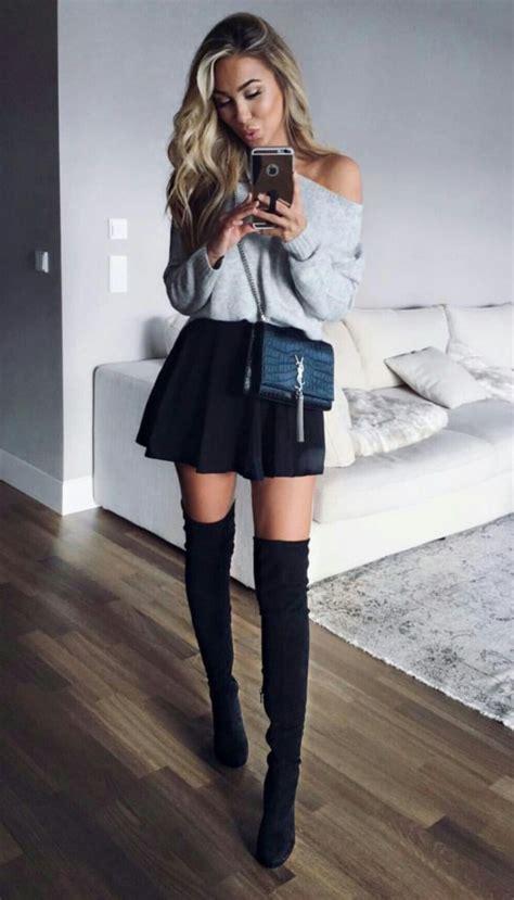 sexy ways  wear skirt  knee high boots