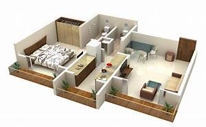 25 one bedroom house apartment plans With 1bed room 3d home plan