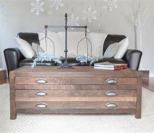 reclaimed wood coffee table with printmaker style drawers With white wood coffee table with drawers