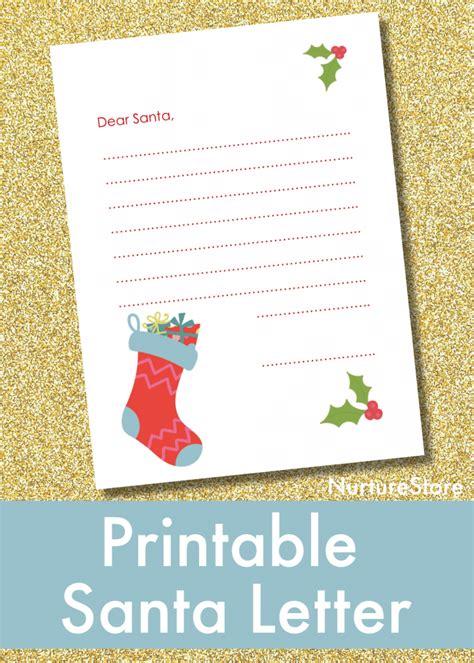 printable letter  santa  children nurturestore