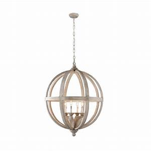 Y Decor Hercules 4-Light Brown Wood Globe Chandelier