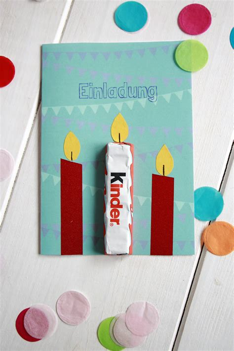herbst geburtstag kinder kindergeburtstag einladungskarte idee ferrero kinder schokolade lavendelblog