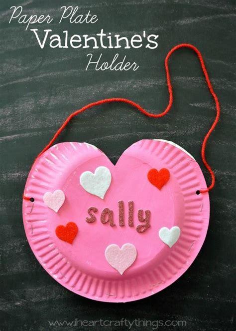 paper plate heart valentines holder valentine crafts