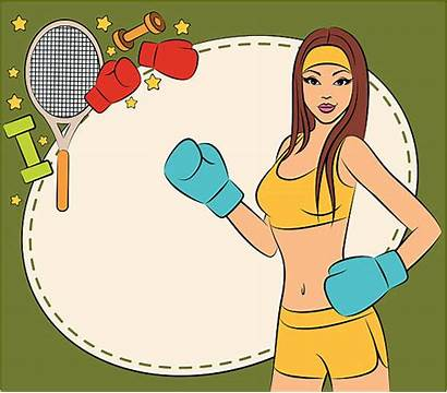 Boxing Woman Female Fitness Gym Illustrations Clip