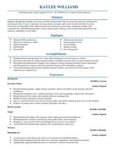 Receptionist Cv Example For Admin Livecareer