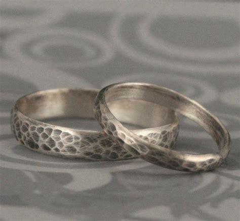 hammered bands matching sterling silver wedding ring set