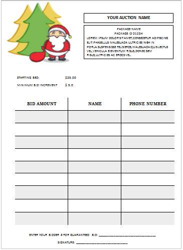 christmas silent auction bid sheet silent auction bid