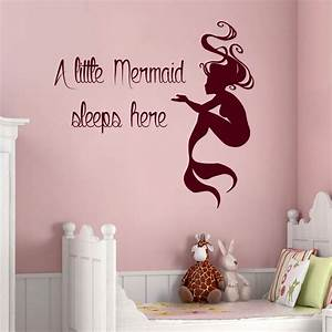 mermaid wall decals quote a little mermaid sleeps here vinyl With best decor mermaid decals for walls