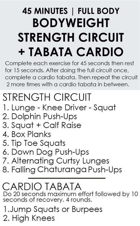 Minute Bodyweight Strength Circuit Workout Cardio