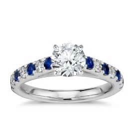saphire engagement rings riviera pavé sapphire and engagement ring in platinum blue nile