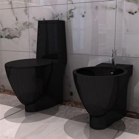 vidaXLcouk  Black Ceramic Toilet & Bidet Set