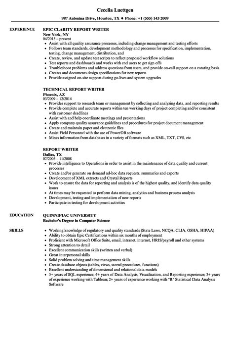 Exle Of Writer S Resume by Report Writer Resume Resume Ideas
