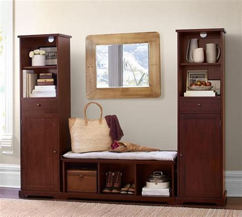 Entryway Cabinet Tower by Storage Cabinet Tower Mahogany Stain Pottery Barn