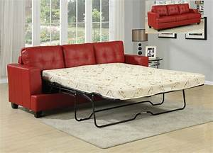 Red bonded leather sofa sleeper w queen mattress for Sectional sleeper sofa with queen bed
